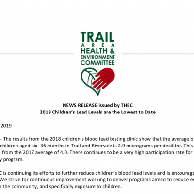 News Release – 2018 Children's Lead Levels are the Lowest to Date