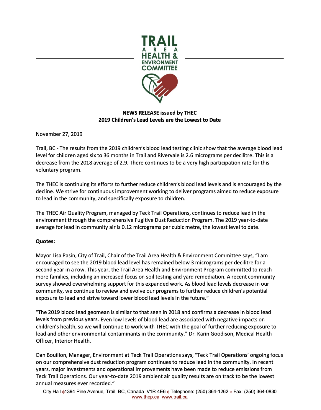 Media Release – 2019 children's blood lead testing