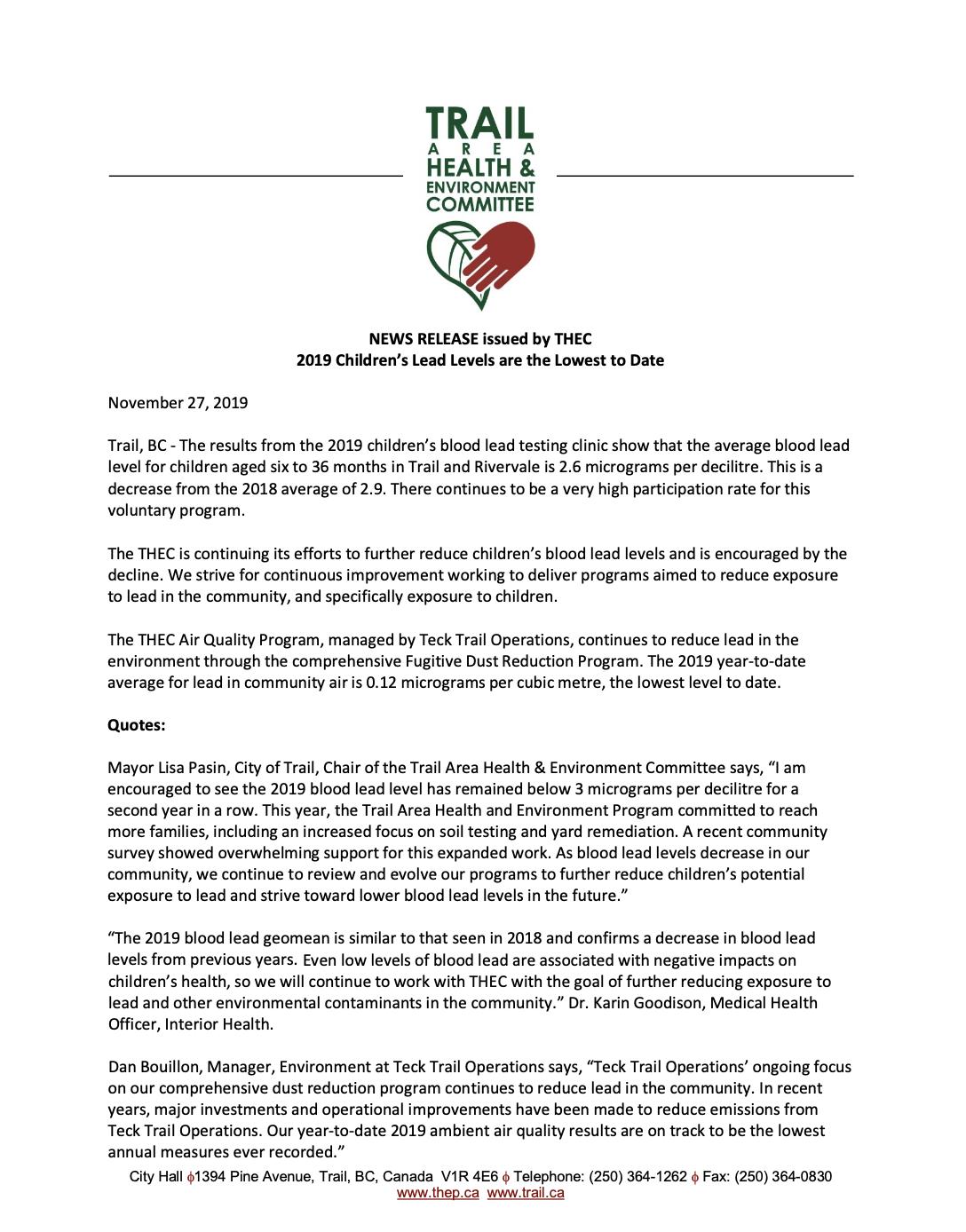 Media Release – 2019 children's blood lead testing