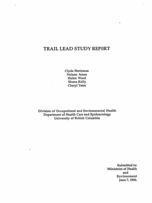 1989 Trail Lead Study Report (Hertzman et al)