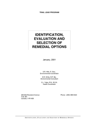 Identification and Preliminary Assessment of Remediation Options (Hilts, White, Yates, 2001)
