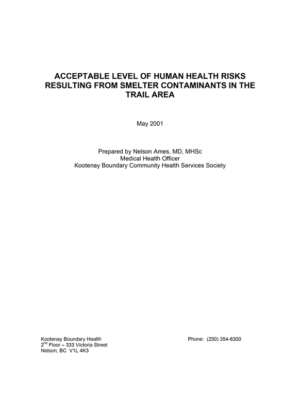 Acceptable Level of Human Health Risk Resulting from Smelter Contaminants in the Trail Area (Ames, 2001)