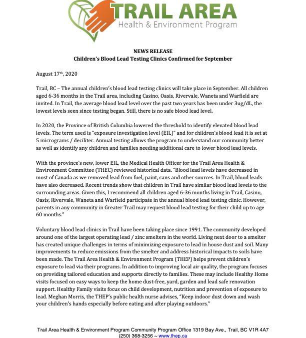 Media Release – Children's Blood Lead Testing Clinics Confirmed for September.