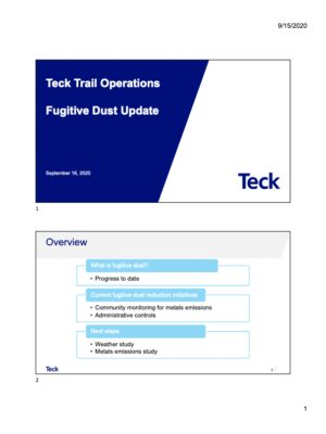 Teck Trail Operations Fugitive Dust Project Update 2020