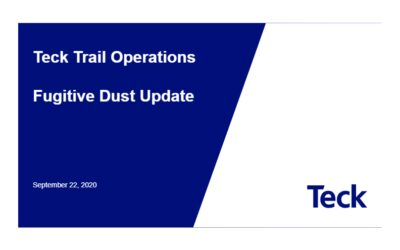 Teck Trail Operations Fugitive Dust Project Update 2021